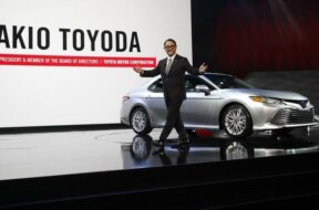 Toyota's Toyoda introduces the 2018 Camry XLE during the North American International Auto Show in Detroit