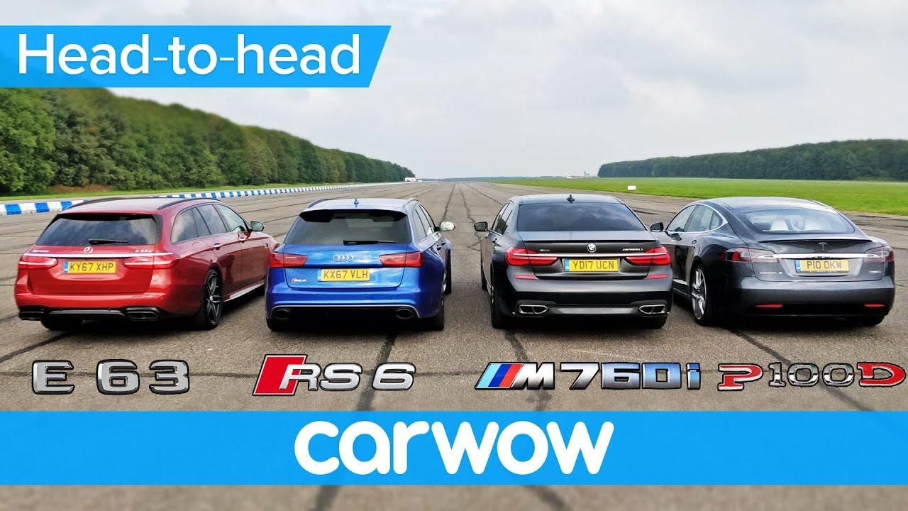 AMG E63 S vs RS6 Performance vs M760Li vs P100D na četvrt milje (video)