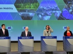 EU Commission Vice-President Maros Sefcovic, Commissioners Canete, Bulc and Bienkowska give a news conference on mobility and climate change package at the EC headquarters in Brussels
