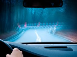 caution – curvy road at night
