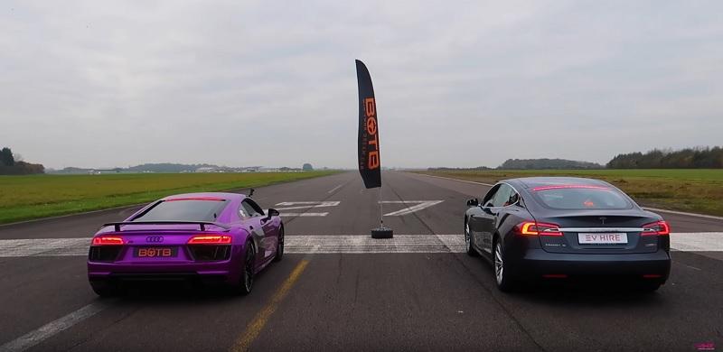 Tesla Model S P100D vs Audi R8 V10