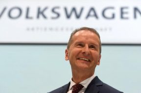 New VW CEO Diess smiles after news conference at the Volkswagen plant in Wolfsburg