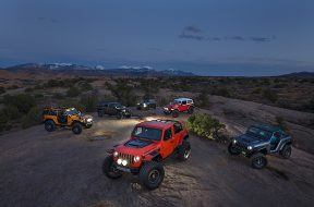 From left to right; Nacho Jeep® Concept, J-Wagon Concept, B-ute Concept, Jeepster Concept, 4SPEED Concept and front center is the Sandstorm Concept.