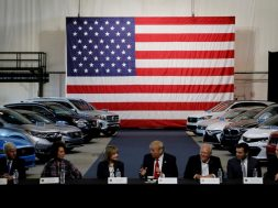 FILE PHOTO: Trump talks with auto industry leaders at the American Center for Mobility in Ypsilanti Township, Michigan