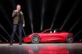 Tesla CEO Elon Musk unveils the Roadster 2 during a presentation in Hawthorne, California