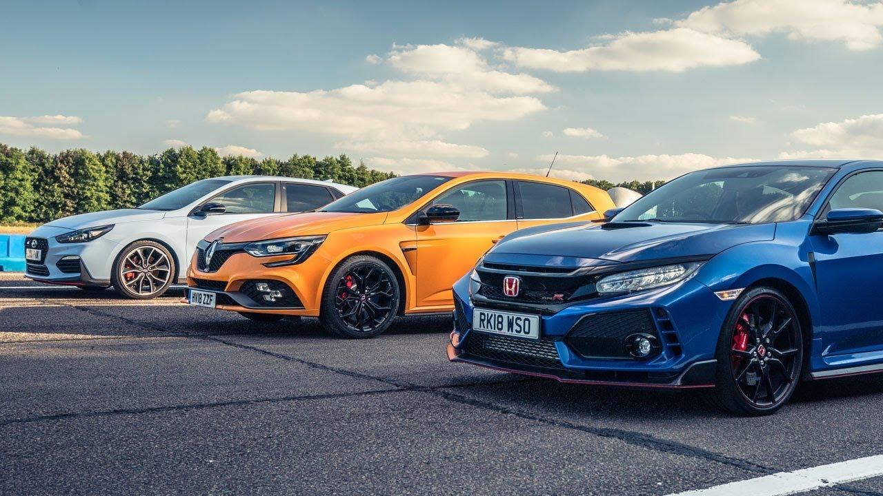 Honda Civic Type R vs Renault Megane RS Cup 280 vs Hyundai i30 N (VIDEO)
