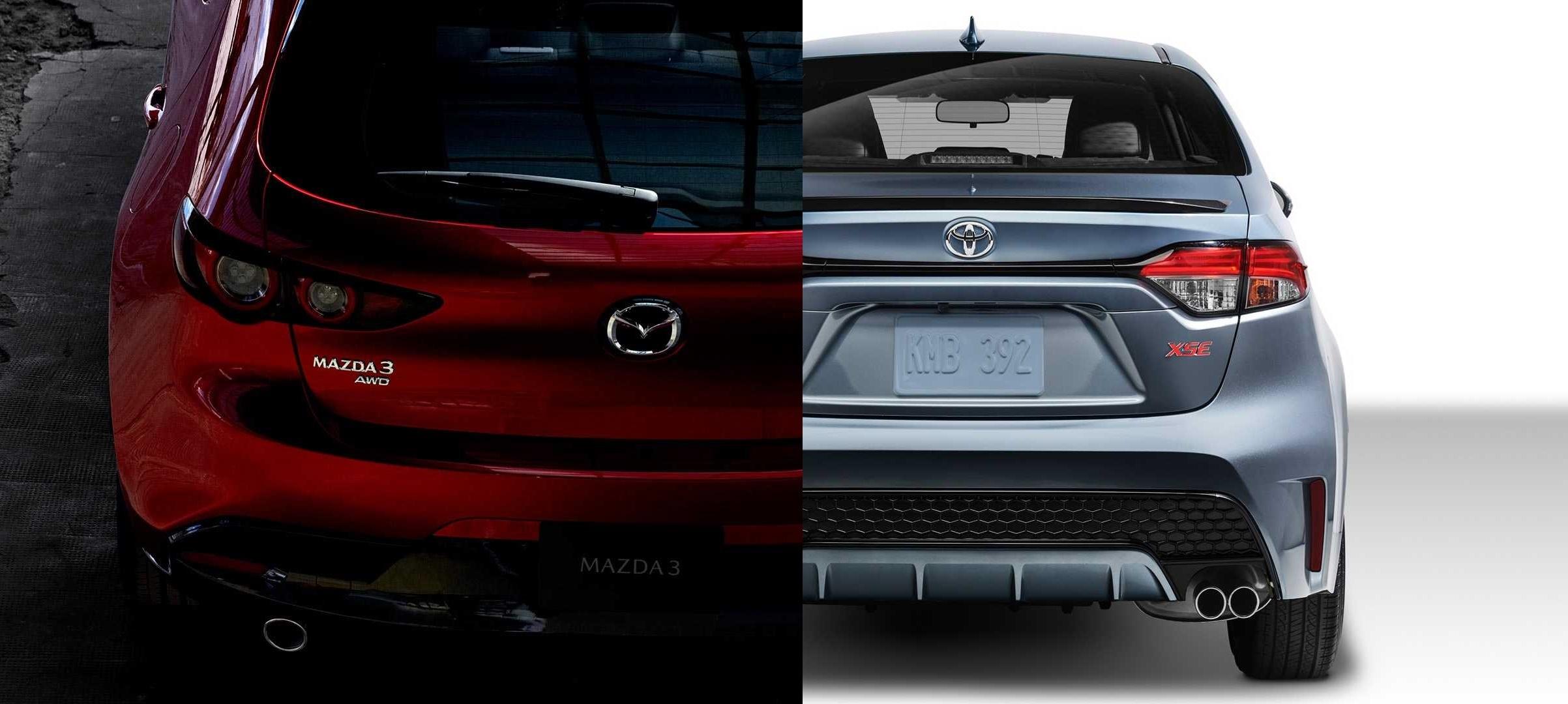 Nova Mazda3 vs nova Toyota Corolla
