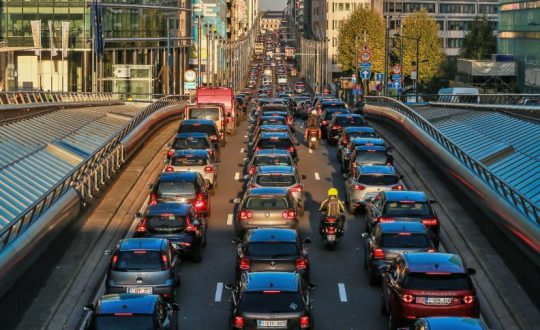Heavy traffic in Brussels ahead of EU's decision on position for the upcoming UN Climate Summit COP24, Belgium – 08 Oct 2018