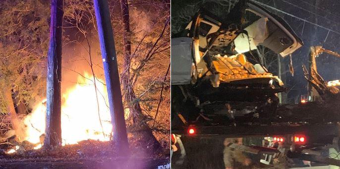 Tesla Model X udario u drvo, prepolovio se i zapalio
