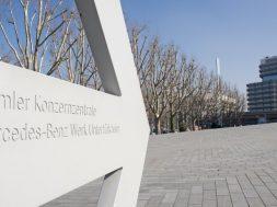 Sign of the Mercedes-Benz headquarter, Stuttgart, Germany.