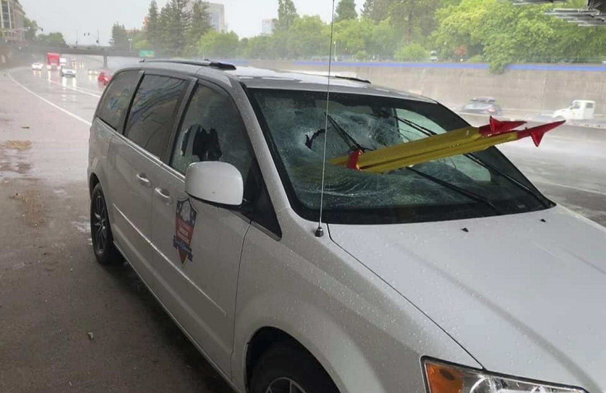 Bizarno: Bacio tronožac s nadvožnjaka na automobil u pokretu