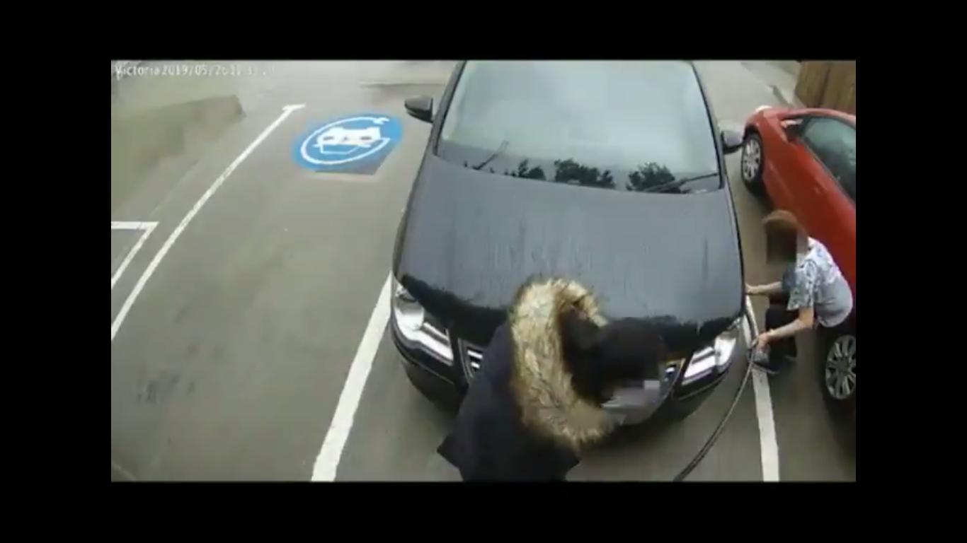Debil dana: Pokušala da napumpa gumu punjačem za električne automobile (VIDEO)