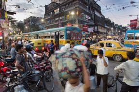 Busy Calcutta (Kolkata), India street traffic.