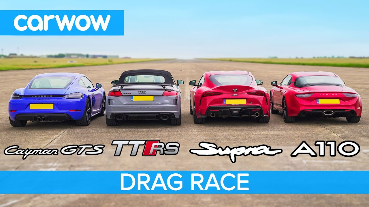Audi TT RS Roadster vs Porsche Cayman GTS vs Toyota Supra vs Alpine A110 (VIDEO)