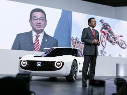 President of Honda, Takahiro Hachigo, pictured after he presented its new concept cars at 45th Tokyo Motor Show. Credit: Yuichiro Tashiro /Alamy Live News